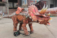 Realistic Animatronic Red Triceratops Dinosaur Ride For Amusement Park