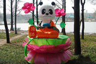 Characteristic Panda Decoration Fabric Chinese Lanterns Display Zoo And Playground