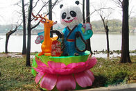 Colorized Fabric Chinese Lanterns 110V / 220V Powered With Cute Panda Design
