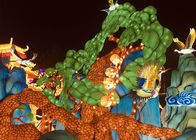 Interactive Landscape Painting Fabric Chinese Lanterns Hand Carved Display For Gallery