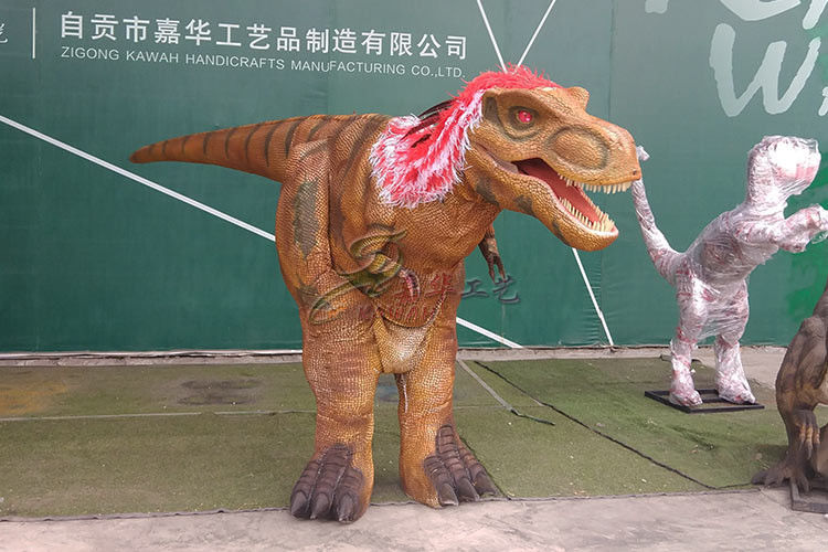 Red Hidden Manual Operation Lifelike Dinosaur Costume Adults Rain Resistance