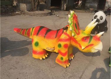 China 2.5 - 3m Long Yellow Dinosaur Battery Car Coin Operated Animatronic Dinosaur Ride factory