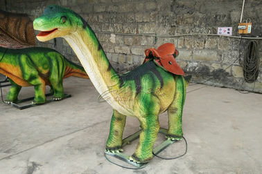 China Lifelike Green Brachiosaurus Dinosaur Ride For City Plaza Playground factory