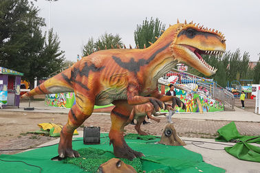 China Realistic Robot Interactive Realistic Orange Animatronic Dinosaur For Mall factory