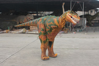 China Flexible Realistic Dinosaur Costume Brown Interactive Park Mall Showcases factory
