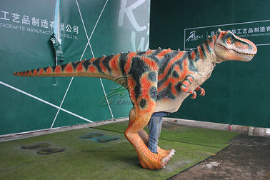 China Brown Interactive Head Realistic Animatronic Dinosaur Costume For Adults factory