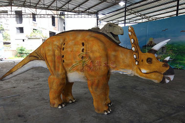 China Yellow Hideen Leg Realistic Dinosaur Costume To Perform In Africa Market factory