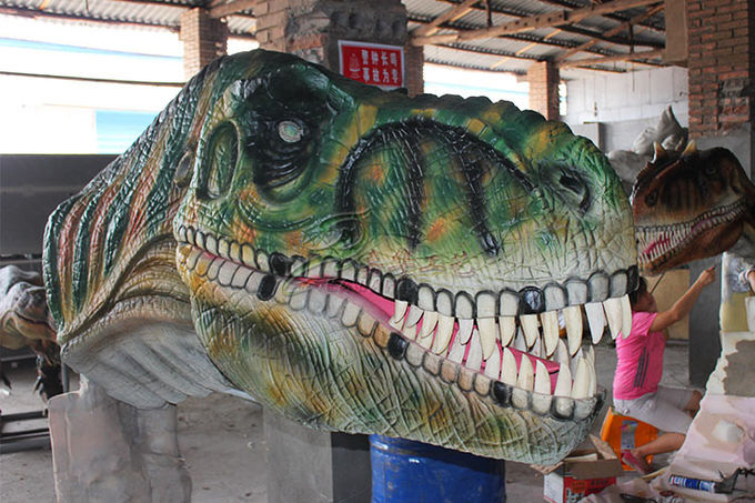 Waterproof Color Realistic Hand - Sculpted Dinosaur Head In Dinosaur Park