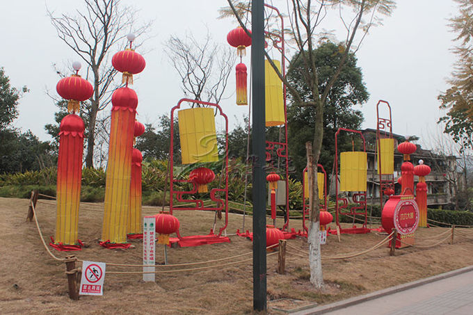 Red Decorated Special Lamp Post Lantern Display On Chinese Street